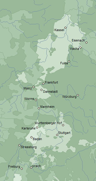 Map of Baden and Württemberg c. 1500